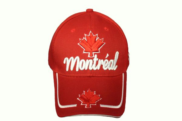 MONTREAL TITLE & MAPLE LEAF RED EMBROIDERED HAT CAP