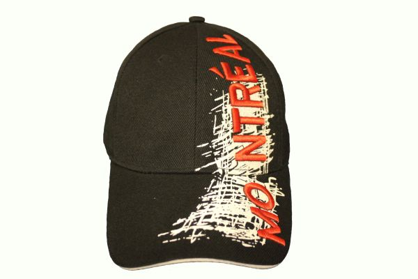 MONTREAL TITLE WITH WHITE SKETCH' DRAWING BLACK EMBROIDERED HAT CAP