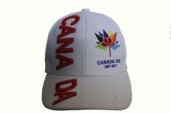 *** SOLD OUT *** CANADA Title & CANADA 150 Year Anniversary 1867-2017 Logo WHITE EMBROIDERED HAT CAP