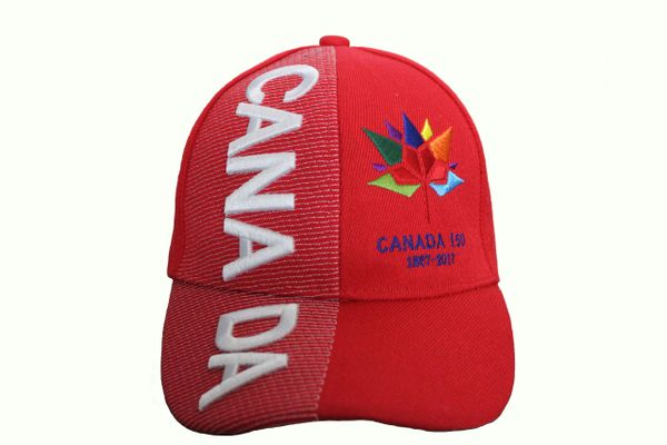 *** SOLD OUT *** CANADA Title & CANADA 150 Year Anniversary 1867-2017 Logo RED EMBROIDERED HAT CAP