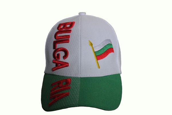 BULGARIA Title & Country Flag Green White EMBROIDERED HAT CAP