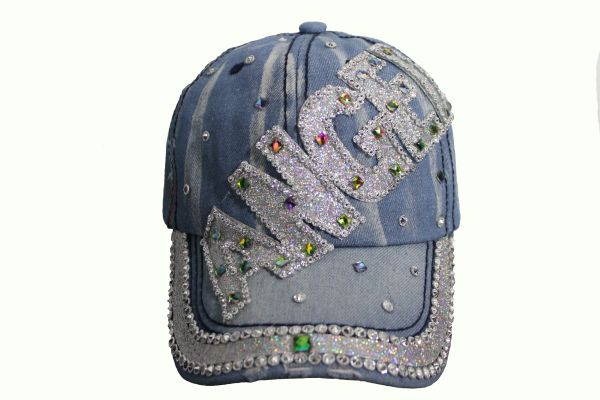 ANGEL DENIM RHINESTONE STUDDED HAT CAP
