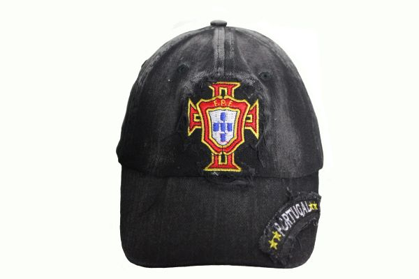 PORTUGAL FPF Logo FIFA World Cup Embroidered Acid Washed Black HAT CAP