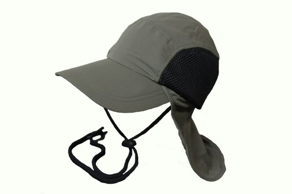 OLIVE FISHING HAT CAP With Drawing Neck Cord & Sun Protection