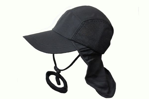 BLACK FISHING HAT CAP With Drawing Neck Cord & Sun Protection