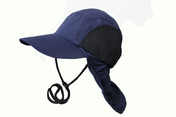 NAVY FISHING HAT CAP With Drawing Neck Cord & Sun Protection