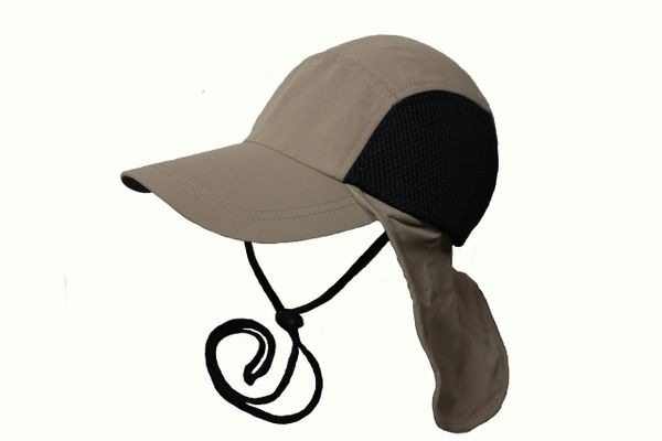 KHAKI FISHING HAT CAP With Drawing Neck Cord & Sun Protection