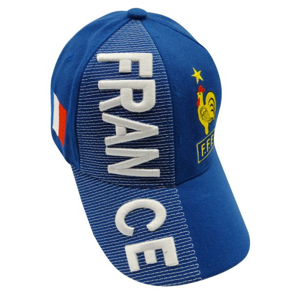 FRANCE BLUE COUNTRY FLAG FFF LOGO SOCCER WORLD CUP EMBOSSED HAT CAP .. NEW
