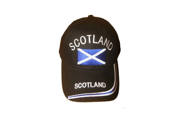 SCOTLAND BLACK ST. ANDREW CROSS EMBROIDERED HAT CAP