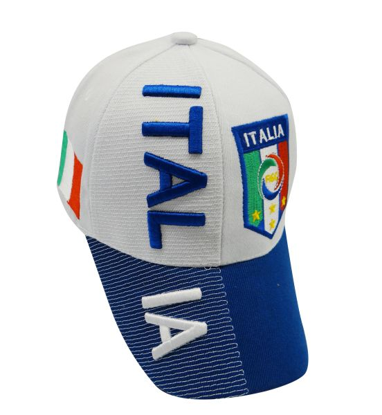 ITALIA BLUE WHITE COUNTRY FLAG FIGC LOGO SOCCER WORLD CUP EMBOSSED HAT CAP .. NEW