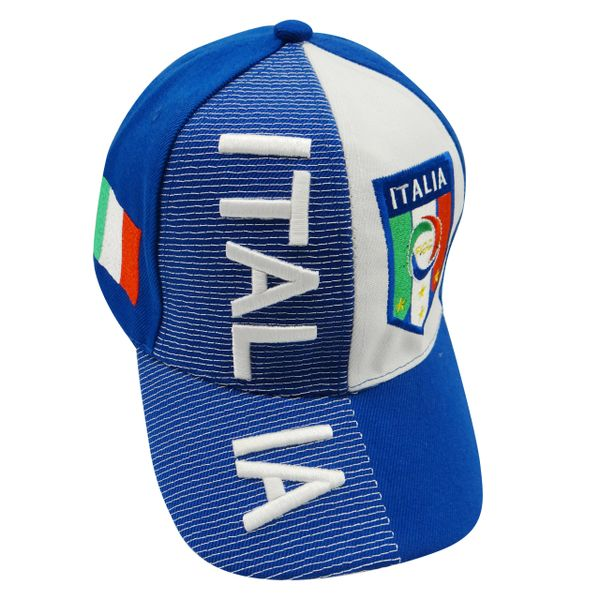 ITALIA WHITE BLUE COUNTRY FLAG FIGC LOGO SOCCER WORLD CUP EMBOSSED HAT CAP .. NEW