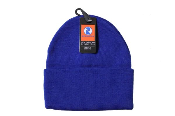 ROYALBLUE TOQUE HAT With BRIM .. NEWHATTAN .. Size : ONE SIZE