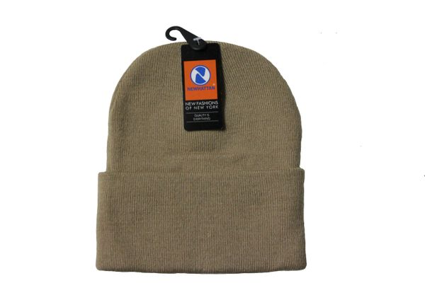 KHAKI TOQUE HAT With BRIM .. NEWHATTAN .. Size : ONE SIZE