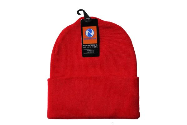 RED TOQUE HAT With BRIM .. NEWHATTAN .. Size : ONE SIZE