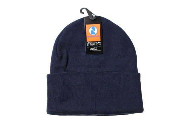NAVY TOQUE HAT With BRIM .. NEWHATTAN .. Size : ONE SIZE