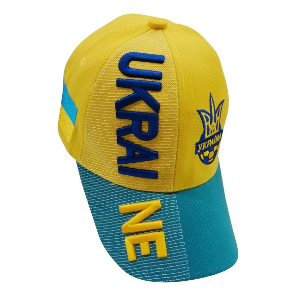 UKRAINE YELLOW LIGHT BLUE COUNTRY FLAG WITH TRIDENT EMBOSSED HAT CAP .. NEW