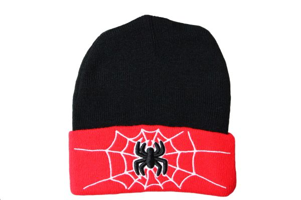 SPIDER RED BLACK With Brim TOQUE HAT..FOR Kids ( Ages : 5 - 10 Yrs )