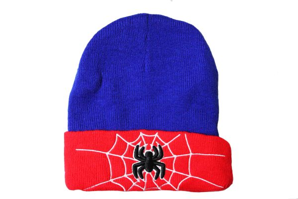 SPIDER RED BLUE With Brim TOQUE HAT..FOR Kids ( Ages : 5 - 10 Yrs )