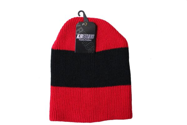 RED With BLACK Stripe Slouchie TOQUE HAT .. KBETHOS .. Style : KBW - 11
