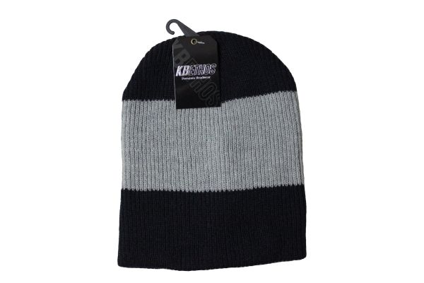 NAVY With GREY Stripe Slouchie TOQUE HAT .. KBETHOS .. Style : KBW - 11