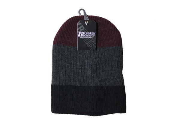 MAROON - DARKGREY - BLACK Stripes Slouchie TOQUE HAT .. KBETHOS .. Style : KBW - 11