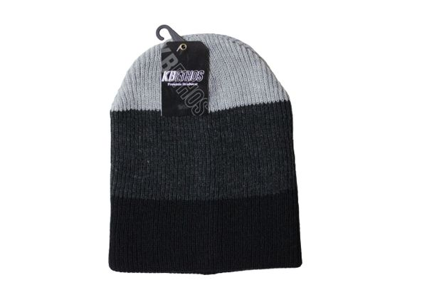 LIGHTGREY - DARKGREY - BLACK Stripes Slouchie TOQUE HAT .. KBETHOS .. Style : KBW - 11