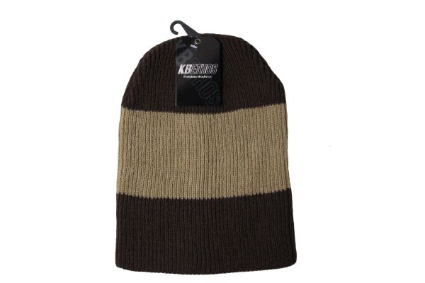 BROWN With CORAL Stripe Slouchie TOQUE HAT .. KBETHOS .. Style : KBW - 11