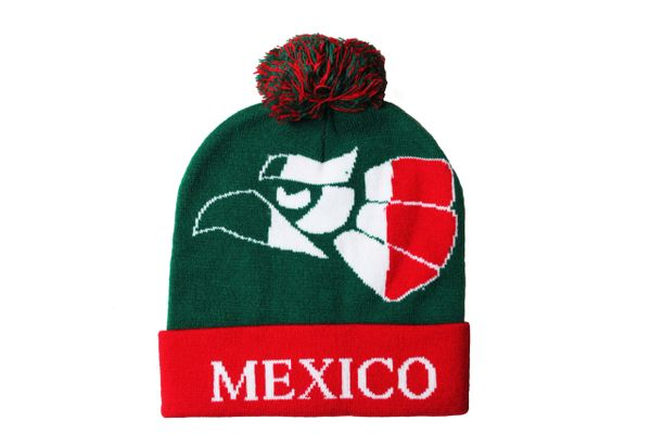 MEXICO Green With Red BRIM TOQUE HAT With POM POM