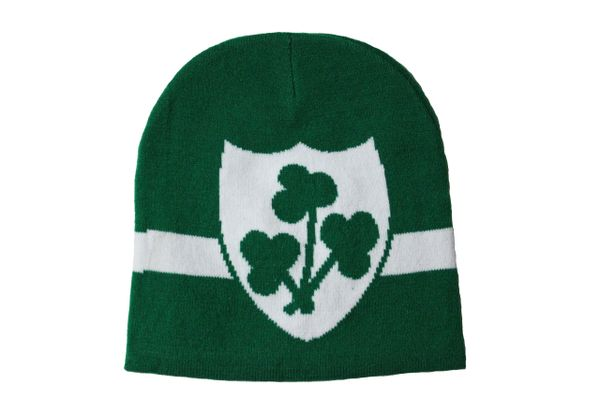 SHAMROCKS In SHIELD Green With White Stripe TOQUE HAT