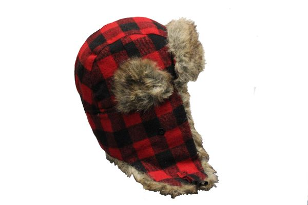 RED PLAID Pattern TRAPPER FURRY WINTER Hat