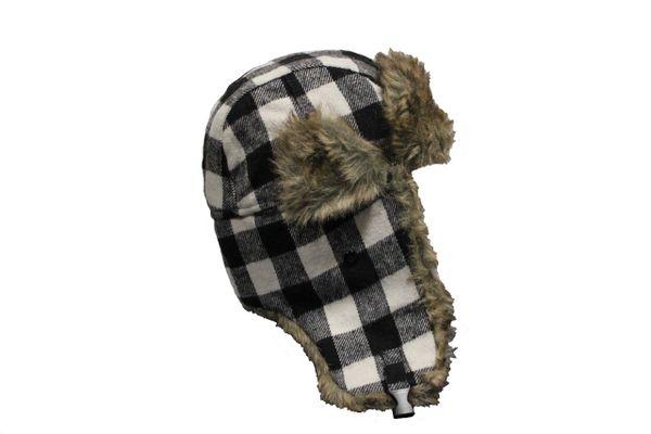 BLACK PLAID Pattern TRAPPER FURRY WINTER Hat