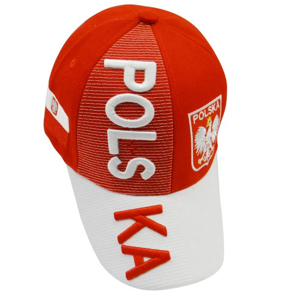 POLSKA WHITE RED COUNTRY FLAG WITH EAGLE EMBOSSED HAT CAP .. NEW
