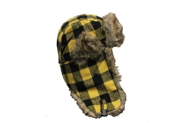 YELLOW PLAID Pattern TRAPPER FURRY WINTER Hat