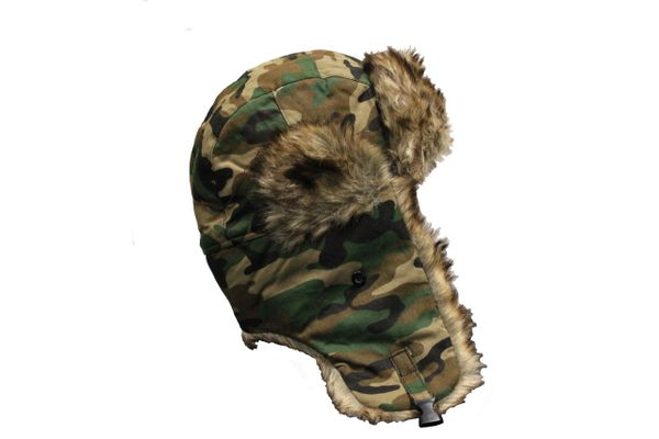 FOREST CAMOUFLAGE TRAPPER FURRY WINTER Hat