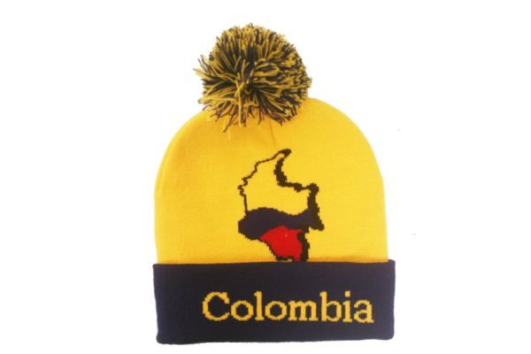 COLOMBIA YELLOW BLUE Country Flag TOQUE HAT With POM POM