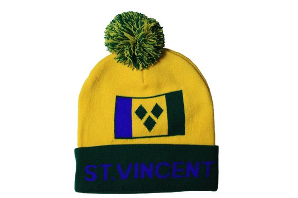 ST.VINCENT YELLOW GREEN Country Flag TOQUE HAT With POM POM.