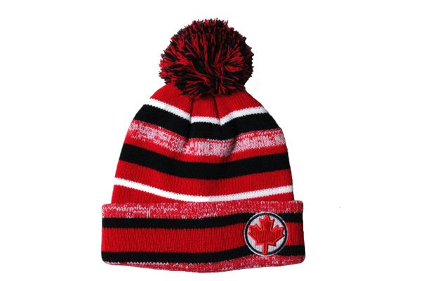 COLORED Stripes , RED MAPLE LEAF On Brim TOQUE TOQUE HAT WITH POM POM