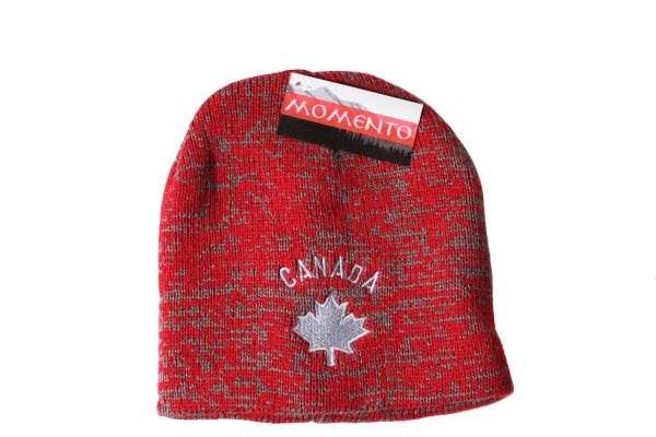 CANADA SILVER MAPLE LEAF Red - Grey TOQUE TOQUE HAT ..MOMENTO ..FOR ADULTS