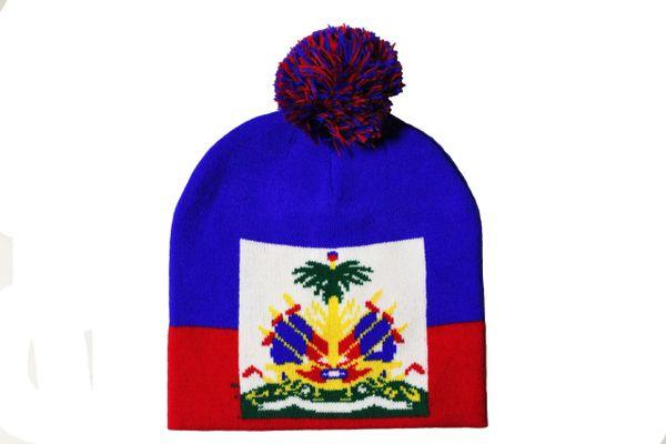 HAITI Country Flag BEANIE HAT With POM POM