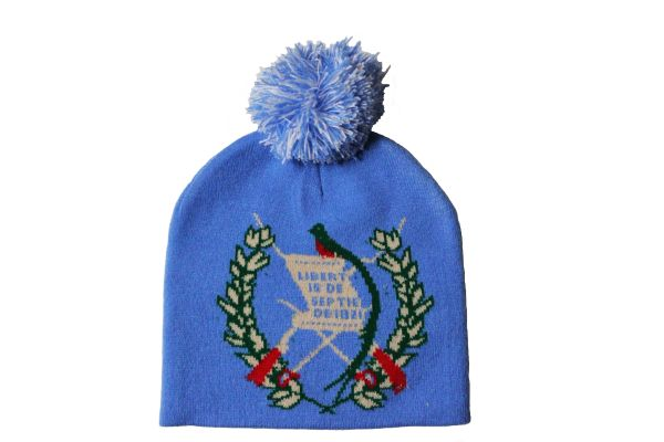 GUATEMALA BLUE Country Flag Logo BEANIE HAT With POM POM