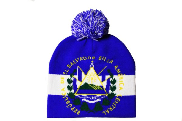 EL SALVADOR With TITLE Country Flag BEANIE HAT With POM POM
