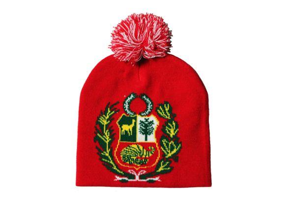PERU Red Country Flag Logo BEANIE HAT With POM POM