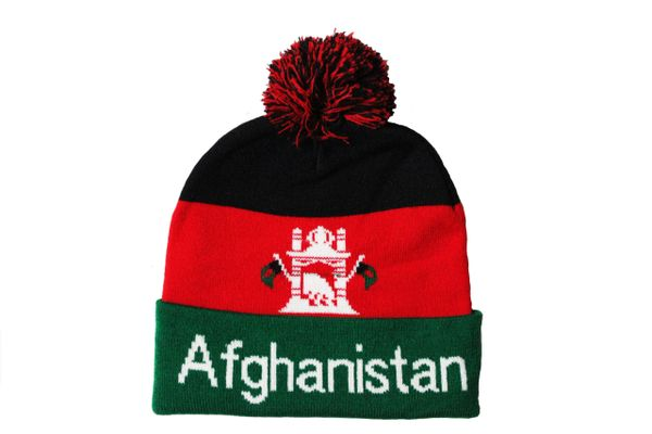 AFGHANISTAN TITLE Country Flag TOQUE HAT With POM POM