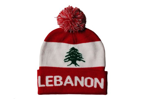 LEBANON TITLE Country Flag TOQUE HAT With POM POM