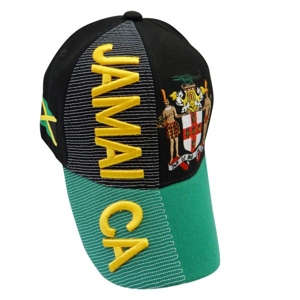 JAMAICA BLACK GREEN COUNTRY FLAG WITH PICTURE EMBOSSED HAT CAP.. NEW