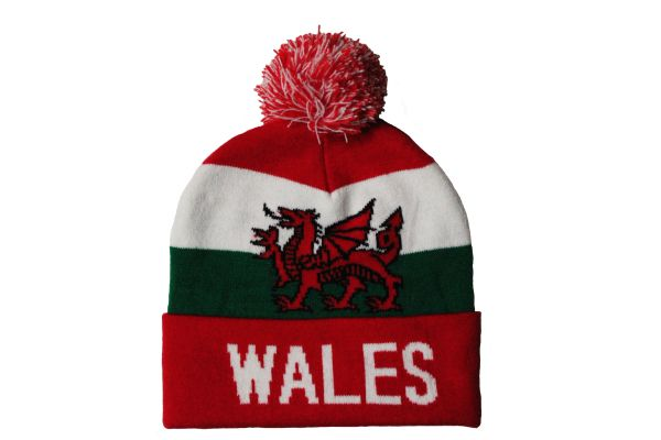 WALES TITLE Country Flag TOQUE HAT With POM POM