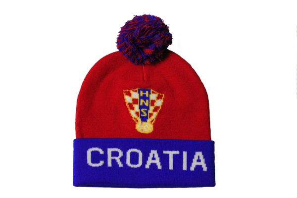 CROATIA TITLE , NHS Soccer Logo TOQUE HAT With POM POM