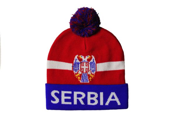 SERBIA Blue Red White , TITLE & Country Flag Logo TOQUE HAT With POM POM