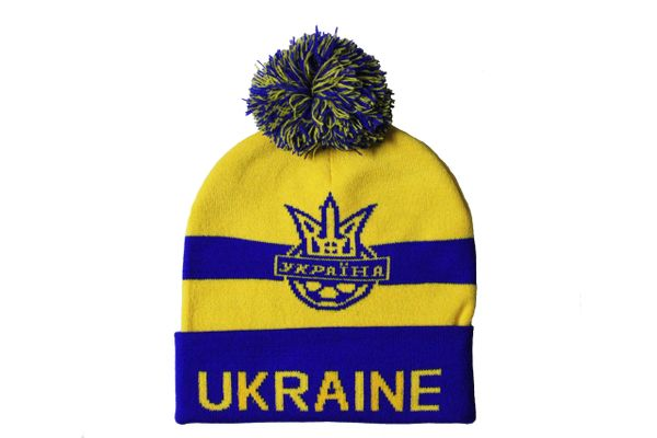 UKRAINE Blue Yellow , TITLE & Soccer Logo TOQUE HAT With POM POM