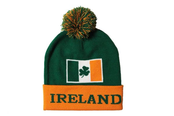 IRELAND TITLE , Country Flag With Shamrock Flower TOQUE HAT With POM POM
